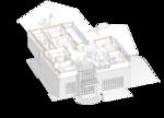 Домик в швейцарском стиле. План второго этажа с расстановкой мягкой мебели, проект жилого дома