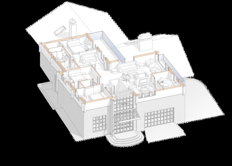 Дом в швейцарском стиле. План второго этажа с расстановкой мягкой мебели, проект жилого дома.