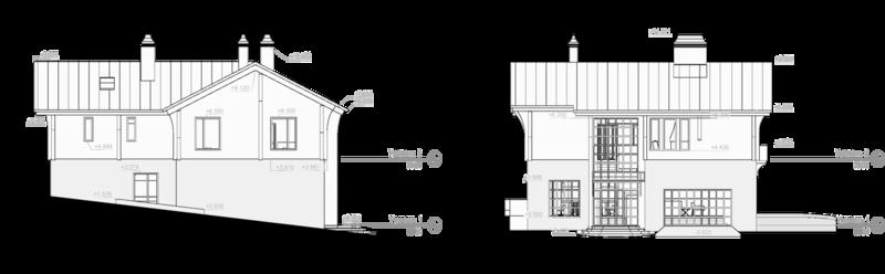 Фасад 3, 4, двухэтажный дом 10 спальных мест, дом в швейцарском стиле