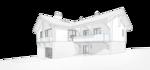 Mod 132-164 жилой дом с балконом, внутренний двор, проект домика в швейцарском стиле, перспективный вид