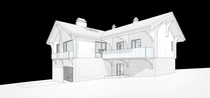Mod 132-164 жилой дом с балконом, внутренний двор, проект жилого двухэтажного дома в швейцарском стиле, перспективный вид.