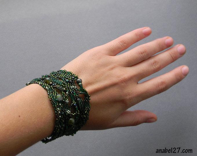 фриформ бисер украшения браслет купить бохо украина зеленый