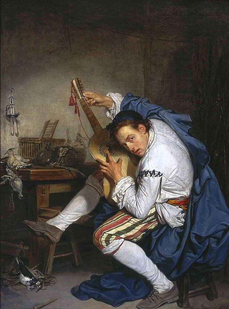 The Guitarist (1757), National Museum in Warsaw. One of the most iconic of his works reveals inspiration of Venetian painting.Jean-Baptiste Greuze(1725 – 1805);