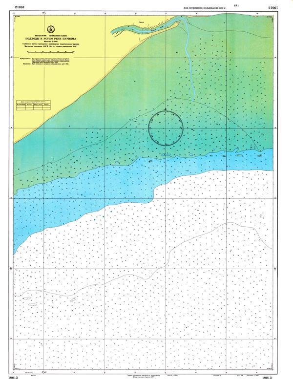 Подходы к устью реки Пурнема - морские навигационные карты на lenv.ru