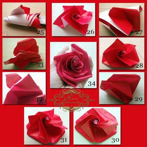 Роза-оригами из бумаги для