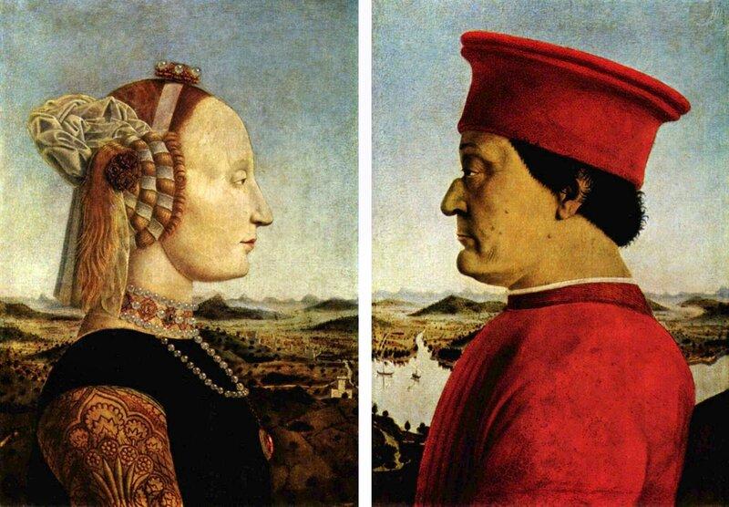 Пьеро делла Франческа, Герцог урбинский Федериго да Монтефельтро и его супруга Баттиста Сфорца