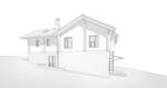 Боково вход на кухню, проект домика в швейцарском стиле, перспективный вид, внешний фасад