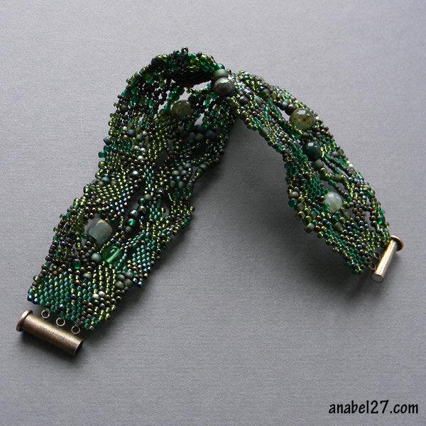 купить браслет из бисера зеленый эльфийские украшения волшебство