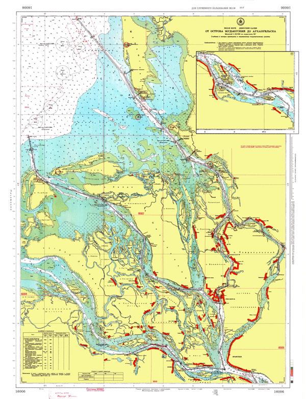 От острова Мудьюгский до Архангельска - морские навигационные карты на lenv.ru