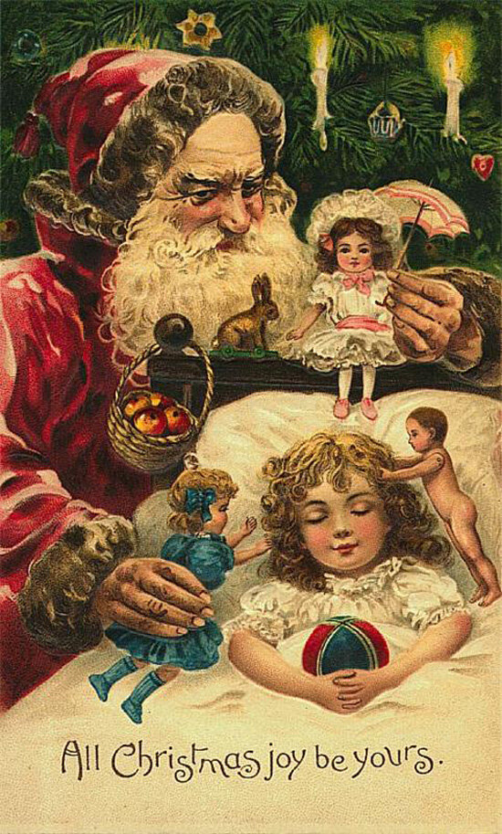 Зарубежные старые рождественские открытки