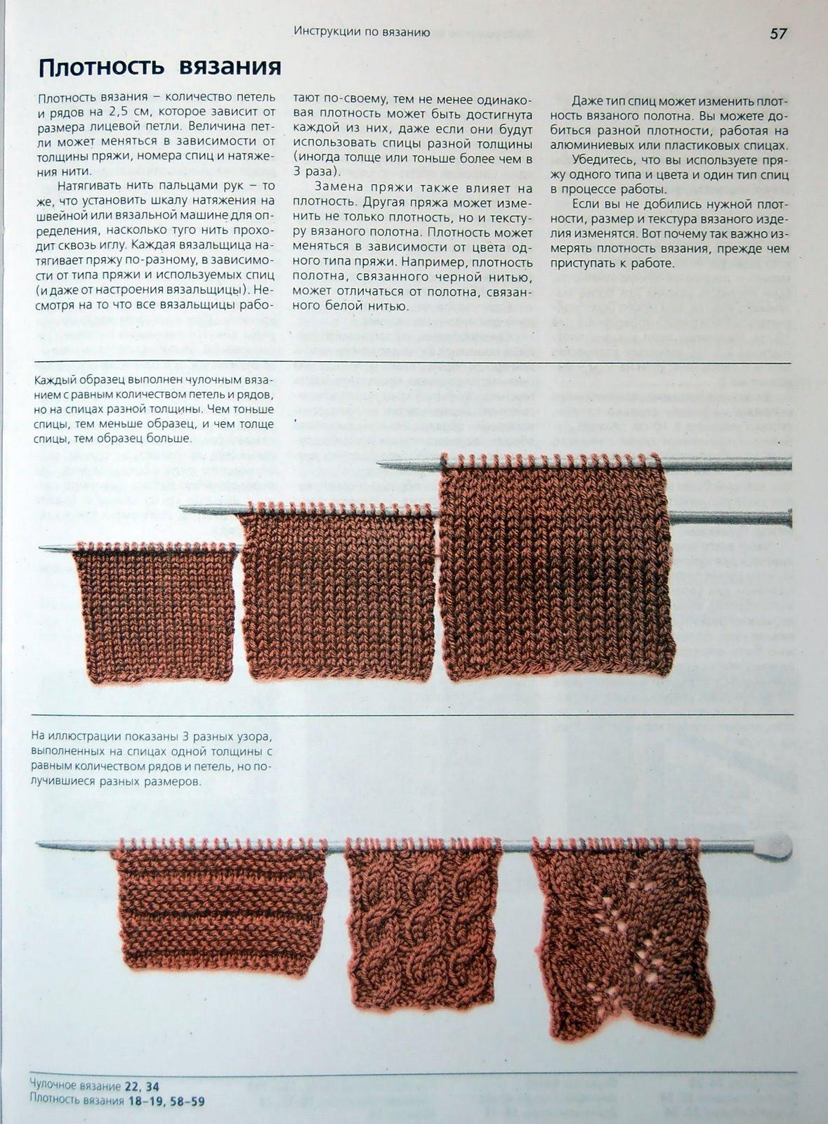 При вязании тонкими спицами из толстой пряжи полотно получается более