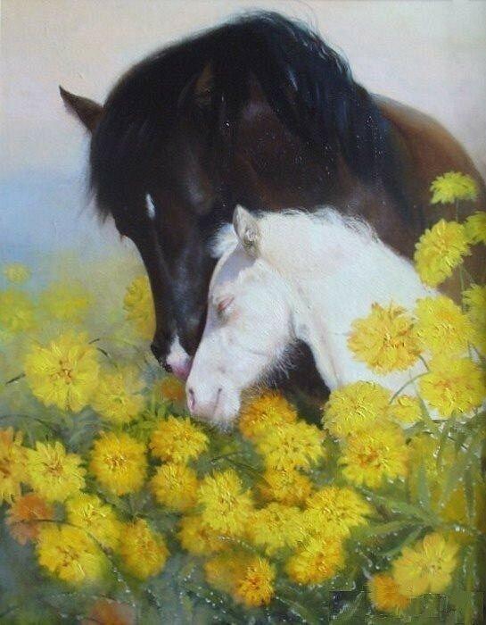 Ты знаешь, и лошади умеют любить... Художник Елена Ермохина