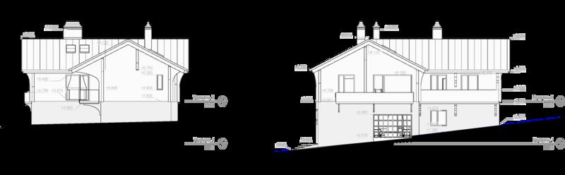 Фронтальный вид, боковой фасад. Двухэтажный дом на 10-ть спальных мест. Проектирование зданий, дизайн интерьера.
