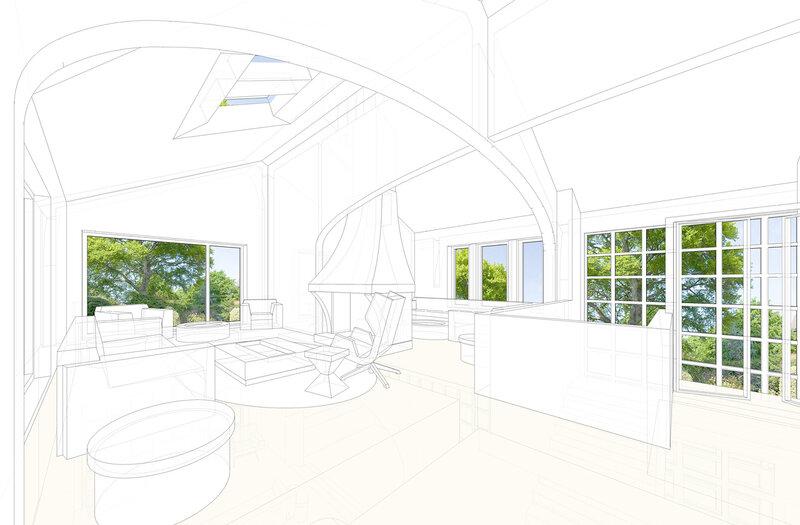 Гостиная, объединяющая несколько вспомогательных помещений, проект дома в швейцарском стиле для 10-ти человек, интерьер. Камин в центре комнаты в нише модернового абриса арке
