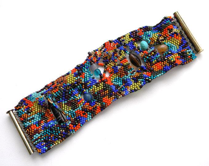 купить широкий браслет из бисера украшения из бисера и бусин купить