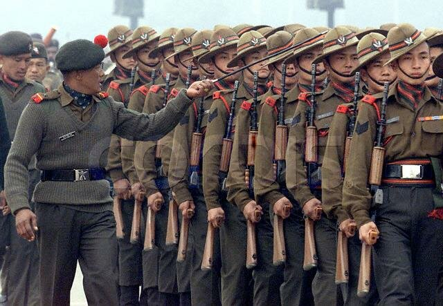 SOLDIERS OF GURKHA REGIMENT ARE PUT THROUGH A DRILL IN NEW DELHI