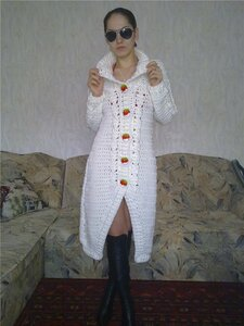 Белый бутон.Пальто крючком от Татьяны Вишняковой