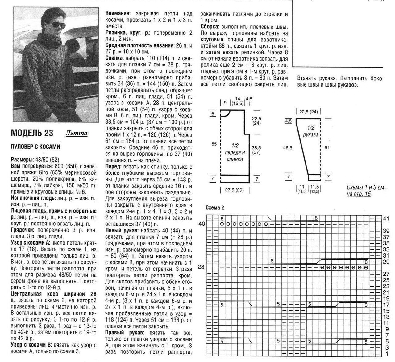 Вязание мужских свитеров спицами схемы 25