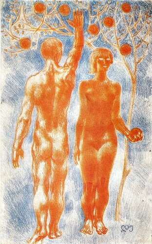 АДАМ И ЕВА.  1969. Бумага, цветной карандаш.