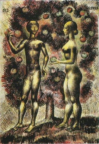 АДАМ И ЕВА.  1977. Бумага, цветной карандаш, перо