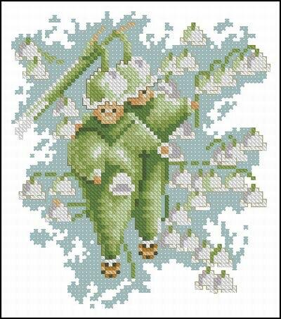 Цветы и Растения.  Поделиться.  Lanarte. бесплатно. схема.  Название схемы: Lanarte 15589 Flower children Snowdrop.