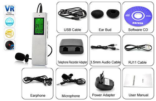 Комплект поставки Цифровой диктофон - телефонный рекордер Инструкция Адаптер для подключения к телефонной линии...