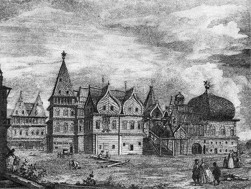 Деревянный дворец в Коломенском. Гравюра Гильфердинга, 1780 год.