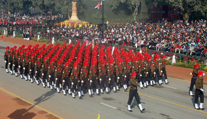 A marching contingent passes through the Rajpath during the 58th Republic Day Parade - 2007, in New Delhi on January 26, 2007.
