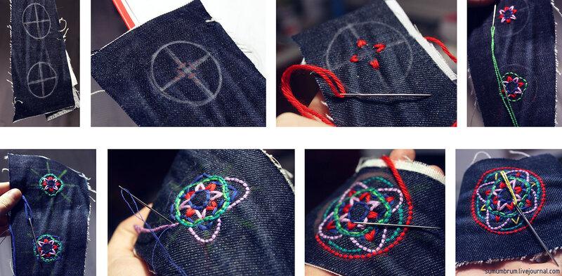 Вышивка крестом на джинсах