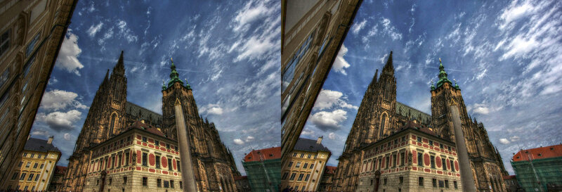 Прага Собор Святого Вита. Стереопара, перекрёстная стереопара, 3D, X3D, стерео фото, crossstereopairs, stereo photo, stereoview