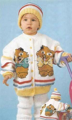 """Комплект с мотивом  """"кошечки """" для холодной погоды:теплые штанишки,варежки спицами,шапочка с помпончиком..."""