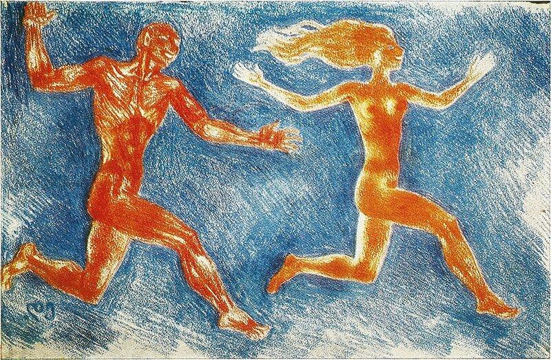 САТИР И НИМФА.  1975. Бумага, цветной карандаш.