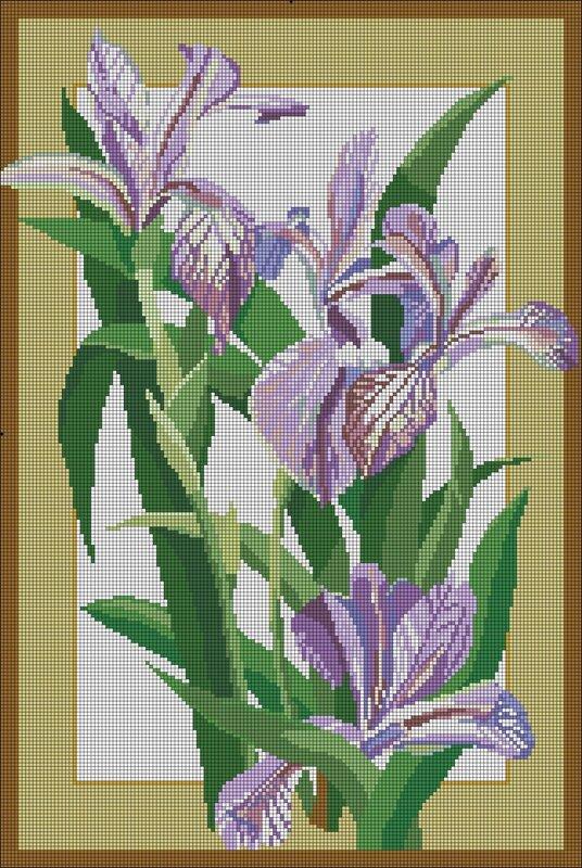 Цветы часть 1. Часть 2 - Схема для вышивки крестом.