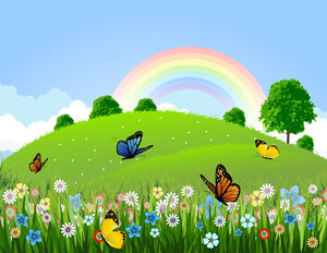 green-landscape-with-butterfly-and-rainbow