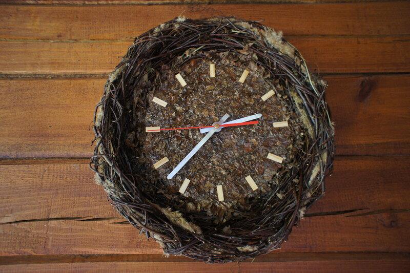 Поделка часы из природного материала на тему часы 72