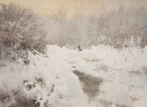 """Non-freezing water spring"" watercolor on paper, 41 x 56, 2012"