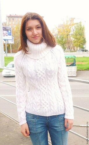 Вяжем свитер с воротником хомут