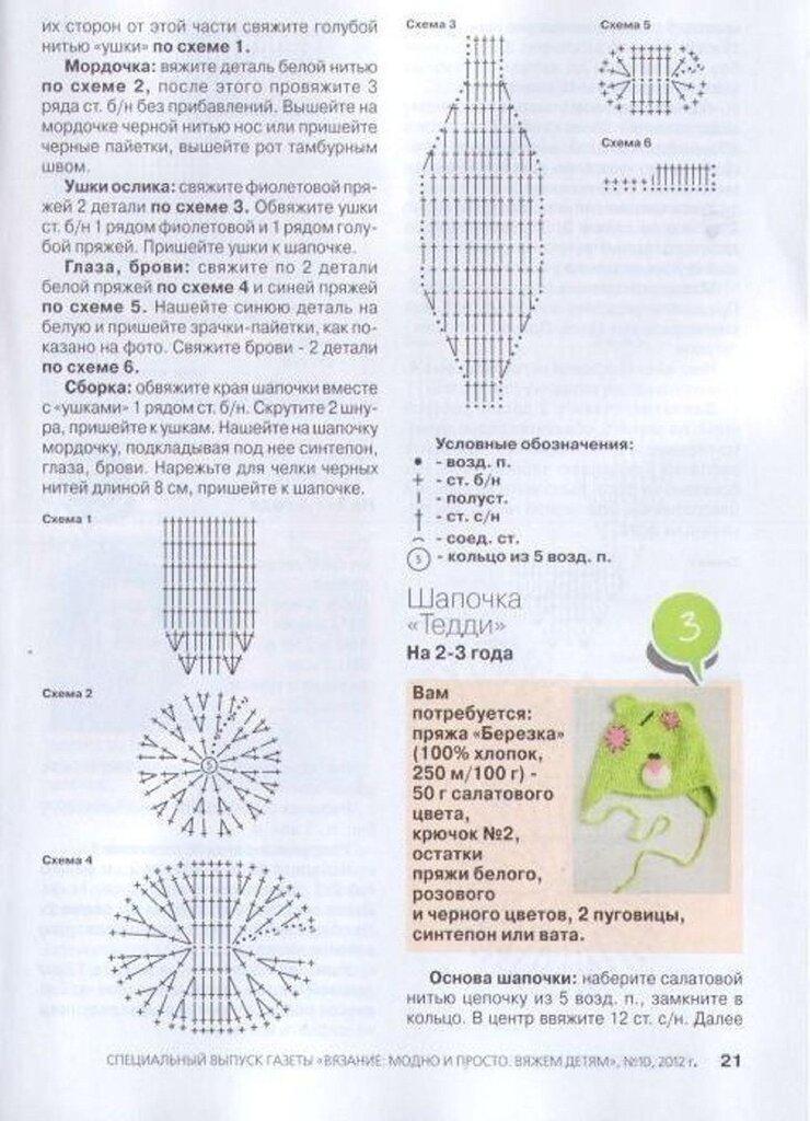 шапочки для детей со схемами и описанием