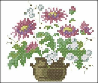 Цветы и Растения.  Поделиться.  Lanarte. бесплатно. схема.  Название схемы: Lanarte 33325 Pot bloemen.