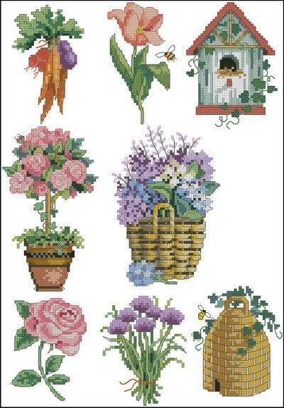 Цветы и Растения.  Поделиться. бесплатно. схема.  Метки. крестом. крестиком.  Dimensions_00281-2.zip.