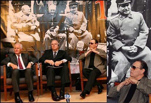 Британский, американский и советский лидеры: Уинстон Черчилль, Франклин Делано Рузвельт, Иосиф Сталин и их внуки: Уинстон, Джеймс и Александр.