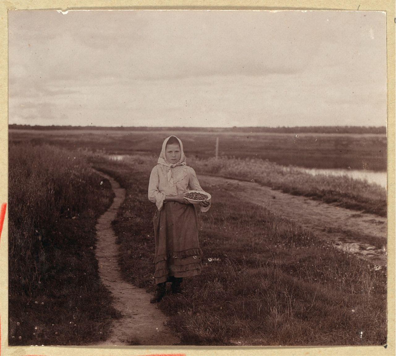 Девушка с земляникой. Река Шексна