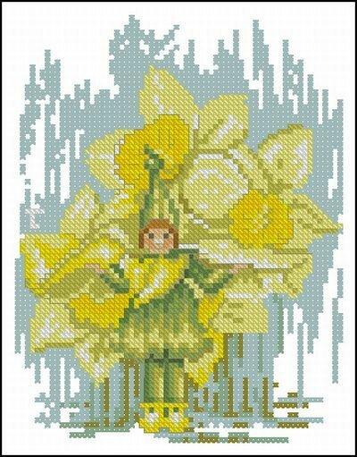 Описание: Схема для вышивки крестом - Lanarte 15587 Flower children в формате xsd.
