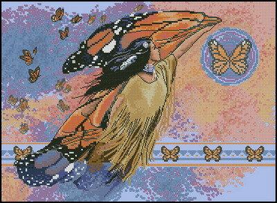 Схема вышивки в форматe.  Тип ниток: DMC Количество цветов: 36 Тип канвы: Aida Цвет канвы: Голубая Счет канвы...
