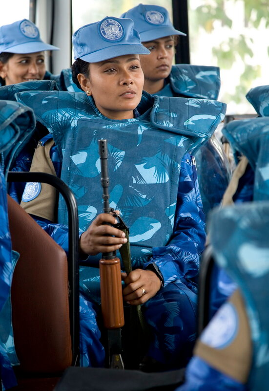 MONROVIA - LIBERIA , FEBRUARY 8 2007 :  All female Peacekeeping police force armed and ready for action on standby at the Headquarters of the Liberian National Police.  (Photos by : Christopher Herwig )