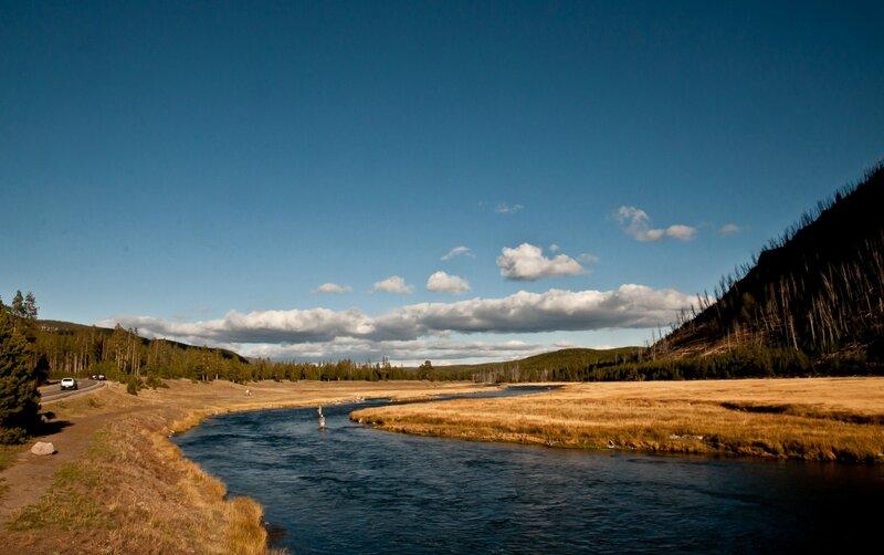 Синяя река среди золотых полей