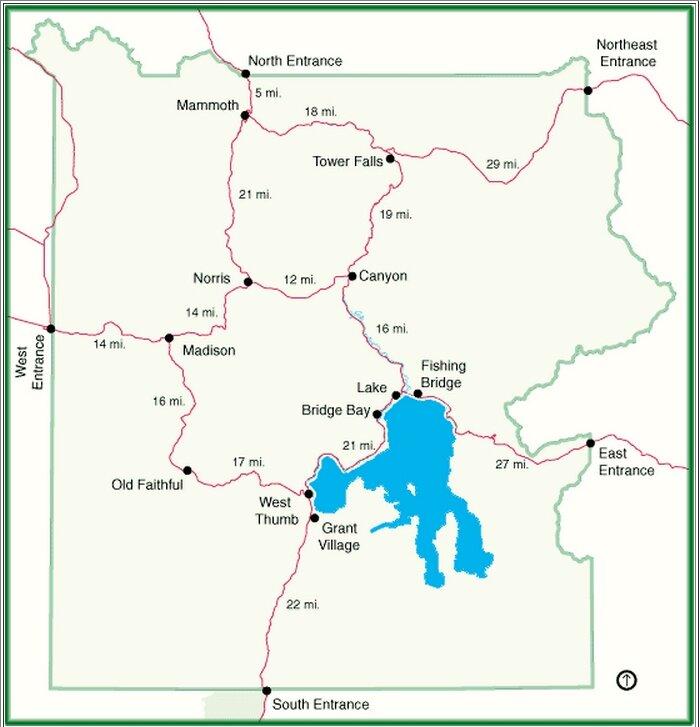 Схема парка Йоллоустоун