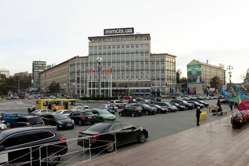 Вид на гостиницу Днепр от Украинского дома