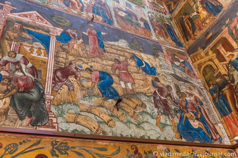 Жатва. Сцена из «Деяний пророка Елисея». Фрагмент настенной росписи Ильинской церкви в Ярославле.