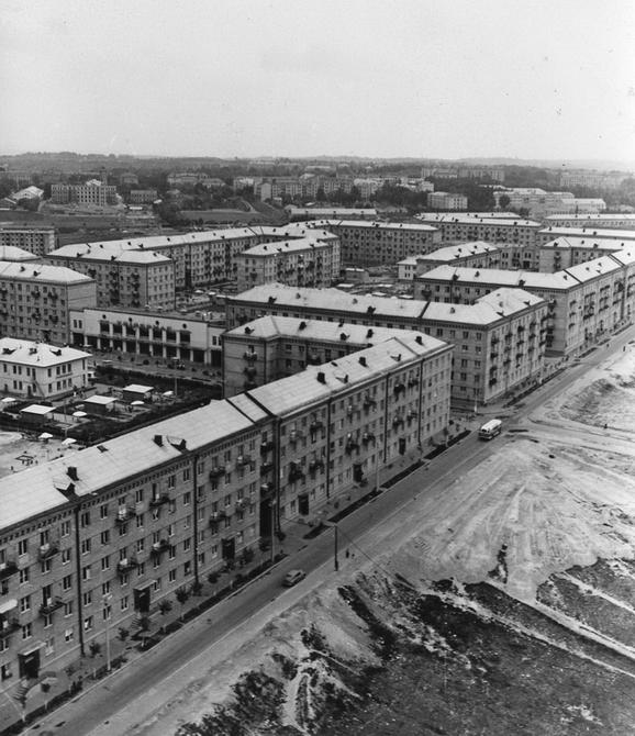 1960.08. Панорама Чоколовского массива. Улица Здвижская.